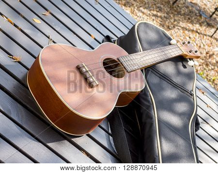 Ukulele guitar on wood table in the garden under sunlight in the morning