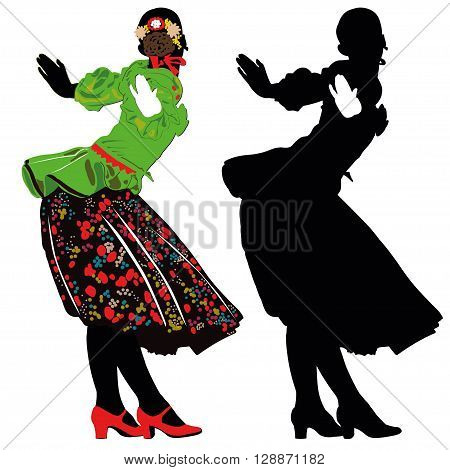 The girl in national costume dancing on hollyday -contour