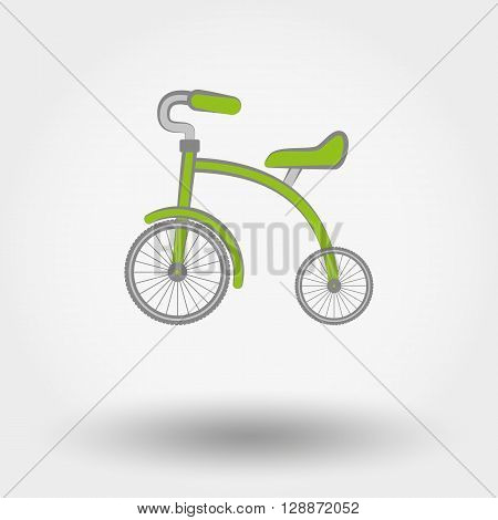 Kids Tricycle flat icon. Vector illustration on a white background. Doodle, cartoon style.