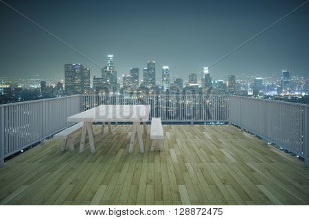 Balcony design with table and benches wooden floor and railing on illuminated night city background. 3D Rendering