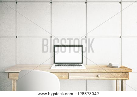 3D Rendering of blank mock up laptop screen on office desktop. Home freelance desktop with open laptop computer with white copy space display. Business via internet concept