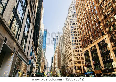 NEW YORK, USA - APRIL 21, 2016: Buildings on the Times Square New York. Times Square is the most popular tourist locations in New York City.