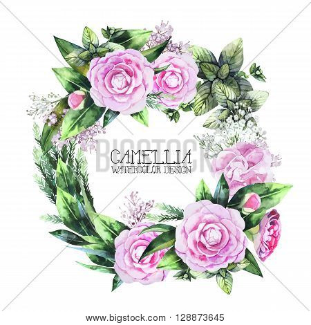 Watercolor  camellia wreath  isolated on white background. Vector floral design