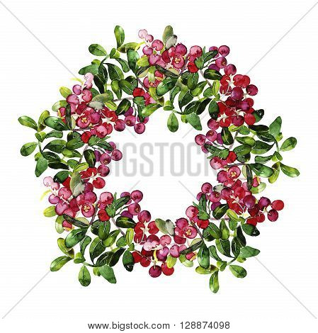 Watercolor cranberry wreath. Christmas design isolated on white background