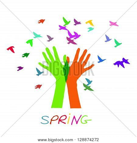 Hands releasing a flock of birds. Spring. Colored vector illustration