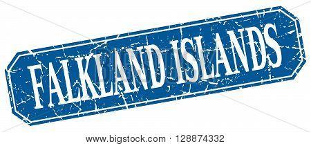 Falkland Islands blue square grunge retro style sign