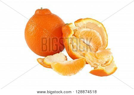 Whole tangerine fruit and broken piece of tangerine fruit isolated on white background