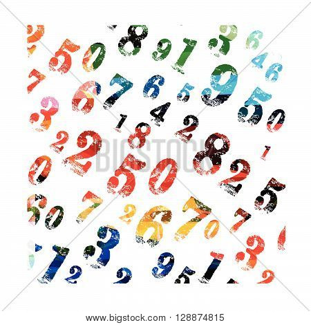 Vector illustration of colorful numeric background pattern