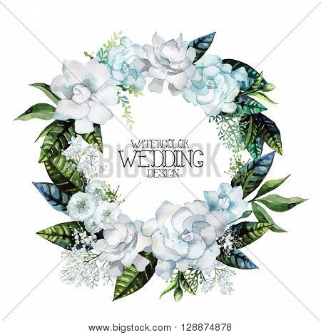 Watercolor gardenia and gypsophila wreath. Floral vector wedding design isolated on white background