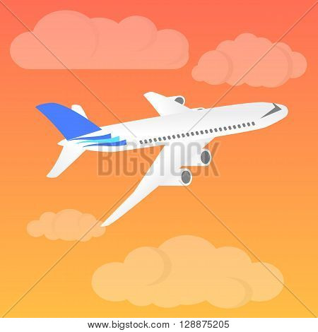 Airplane landing at sunset. Flight of the plane in the sky. Passenger planes airplane aircraft flight clouds sky. Vector illustration