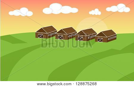 Farm flat landscape. Farm landscape concept. Farm landscape illustration. Farm landscape background. Farm background. Farmland concept. Vector illustration
