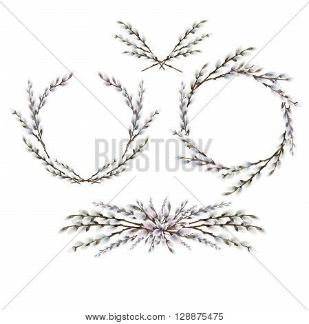 Collection of watercolor pussy-willow wreath and vignettes. Spring branches. Easter decorations. Floral design elements isolated on white background