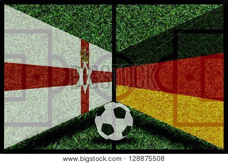 Northen Ireland Vs Germany Football Flag Background On Green Pitch 2016