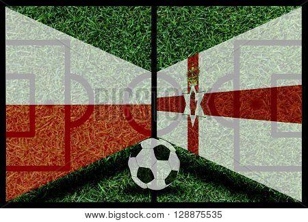 Poland Vs Northen Ireland Football Flag Background On Green Pitch 2016