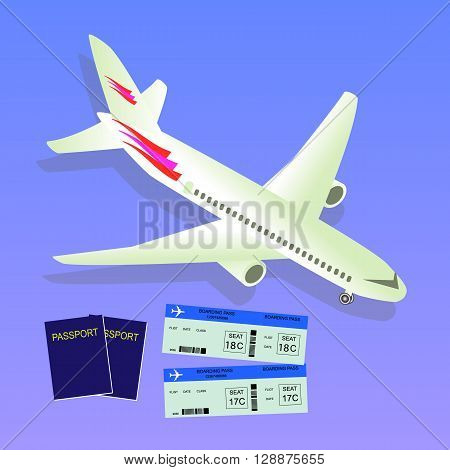 Travel isometric composition. Travel and tourism background. Travel banner design. Travel flyer design. World travel banner background. World travel concept. Passport and tickets. Vector illustration