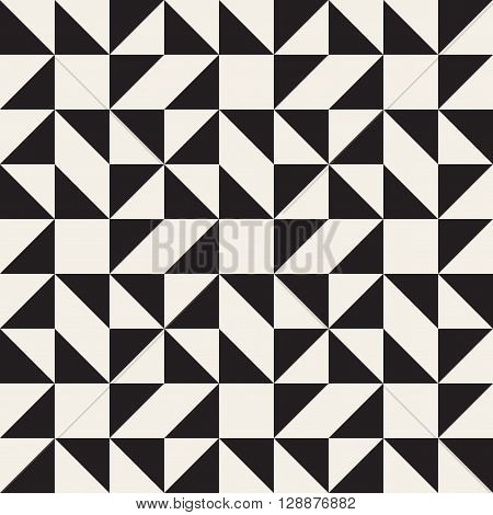 Vector Seamless Black and White Geometric Square Triangle Tessellation Pattern Abstract Background