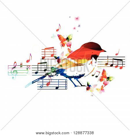 Colorful hummingbird design with notes. Vector illustration