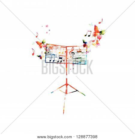Vector illustration of colorful music stand with butterflies