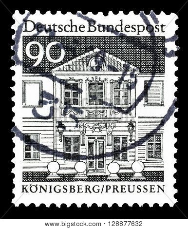 GERMANY - CIRCA 1977 : Cancelled postage stamp printed by Germany, that shows Königsberg in Prussia.
