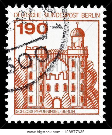 GERMANY - CIRCA 1978 : Cancelled postage stamp printed by Germany, that shows Pfaueninsel castle in Berlin.