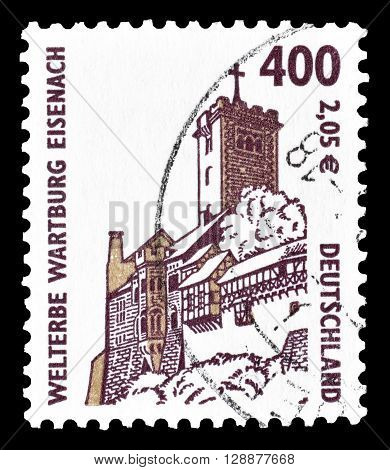 GERMANY - CIRCA 2001 : Cancelled postage stamp printed by Germany, that shows Wartburg at Eisenach.