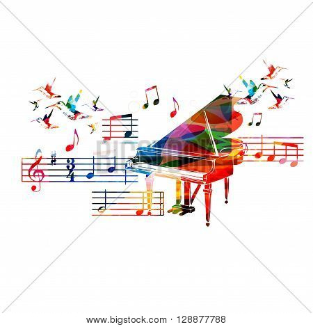 Vector illustration of colorful piano with hummingbirds