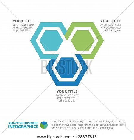 Hexagon chart template with three steps, titles and sample text, multicolored version