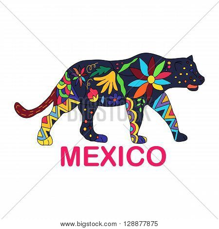 Isolated vector image of Mexican animal. Jaguar traditional Mexican animal in colorful colors and flowers. Vector illustration.