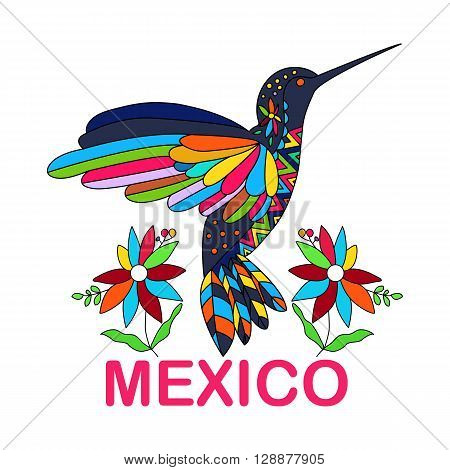 Isolated vector image of Mexican bird. Hummingbirds. Traditional Mexican bird in colorful colors and flowers. Vector illustration.