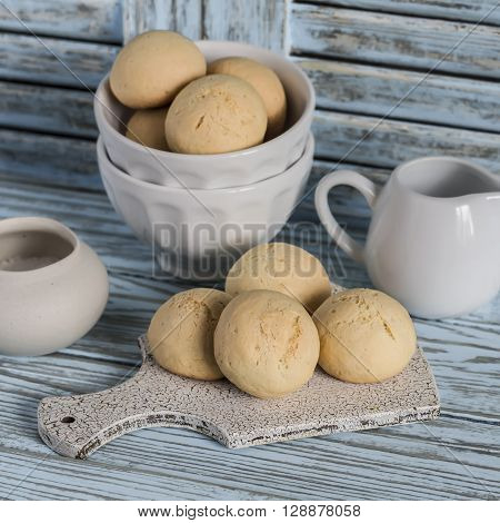 Simple biscuits on a light wooden background. Kitchen still life in rustic style