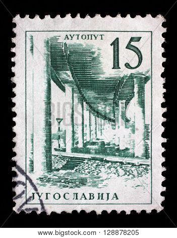 ZAGREB, CROATIA - SEPTEMBER 13: Stamp printed in Yugoslavia shows a Ljubljana - Zagreb motor road, from series Industrial Progress, circa 1958, on September 13, 2014, Zagreb, Croatia
