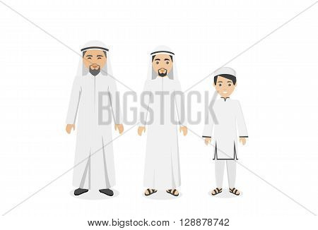 Saudi Arabia traditional clothes people. Arab traditional muslim, arabic man clothing, east arabian dress, ethnicity islamic face with beard, person human guy vector illustration