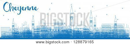 Outline Cheyenne (Wyoming) Skyline with Blue Buildings. Business travel and tourism concept with modern buildings. Image for presentation, banner, placard and web site.