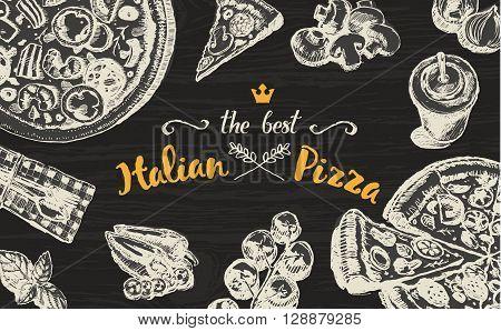 Hand drawn vector illustration of an Italian pizza on a blackboard, sketch