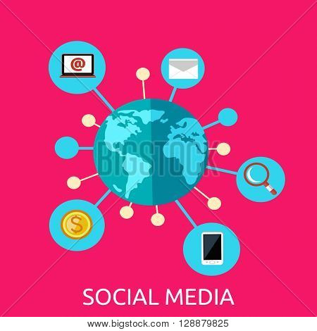 Social media web page design flat. Social network media marketing, blog web page, internet technology business, webpage content, website communication vector illustration