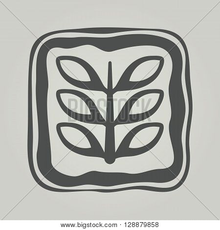 Vector Symbol Of Flower. Floral Icon In Frame