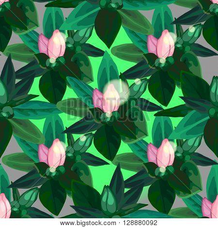 Gentle azalea vignettes. Vector floral seamless pattern
