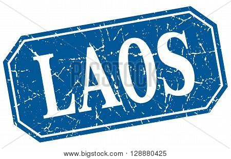 Laos blue square grunge retro style sign