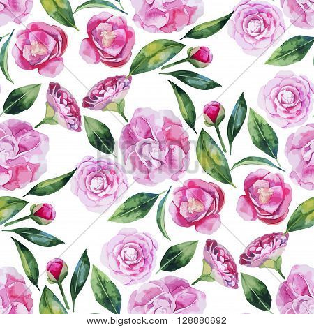 Watercolor camellia seamless pattern. Floral vector design