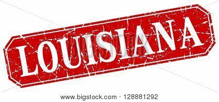 Louisiana red square grunge retro style sign
