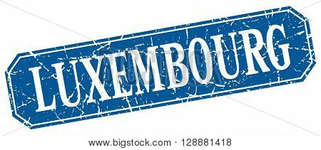Luxembourg blue square grunge retro style sign