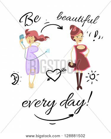 Greeting card for girls funny character girls the letter B flat vector drawn by hand.