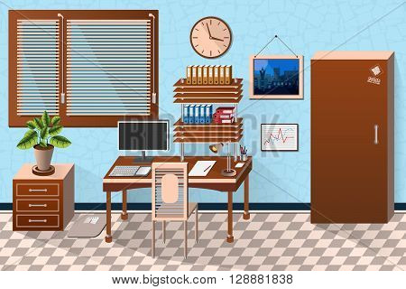 Vector Interior Office Room In Wooden Style. Vector Illustration