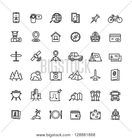 Tourism, transportation and traveling line vector icons. Travel icon, travel tourism icon, travel vacation icon illustration