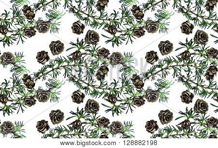 Forest design with larch branches and cones. Seamless pattern