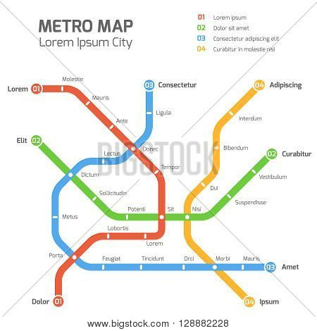 Subway vector map template. City metro transportation scheme. Information metro map, station metro map, underground metro illustration