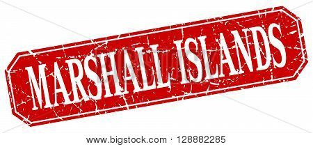 Marshall Islands red square grunge retro style sign