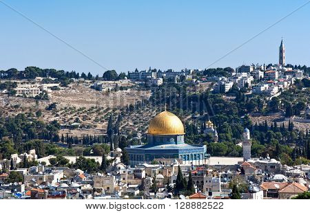 Israel Jerusalem view on the Dome of the Rock mosque an Mount of Olives