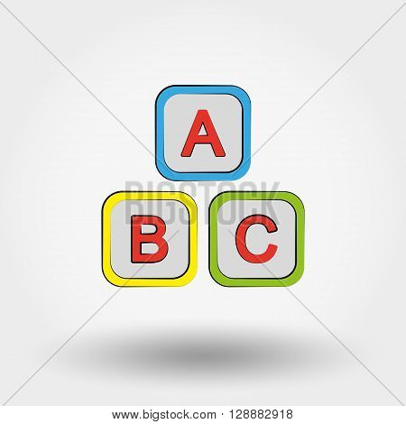 Cubes with letters A, B, C. Icon for web and mobile application. Vector illustration on a white background. Doodle, cartoon style.