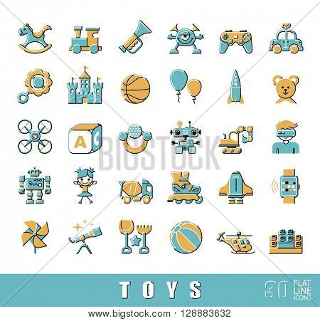 Set of premium quality flat line toy icons. Play and games icons. Collection of toys for children. Childhood fun vector illustration.